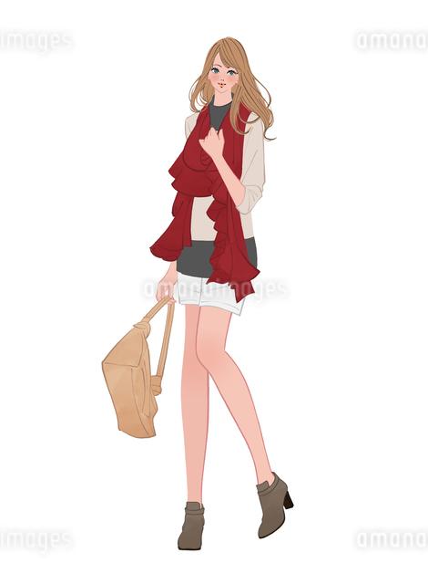 冬にマフラーをして暖かい服装をする女の子のイラスト素材 [FYI01640050]