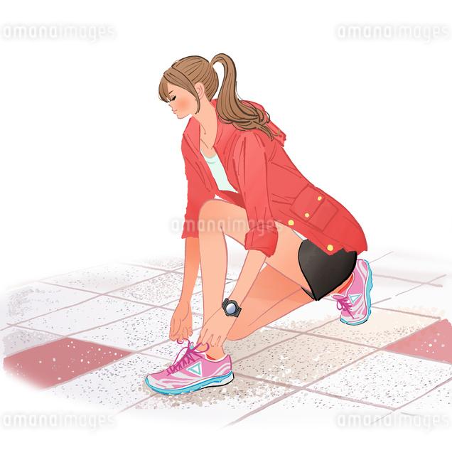 ジョギング前に靴の紐を結ぶポニーテールのしゃがむ女の子のイラスト素材 [FYI01640052]