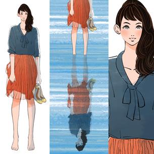 靴を手に持って裸足で水に入る女の子のイラスト素材 [FYI01640055]