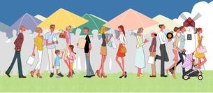 野外のフリーマーケットで買い物をする人々のイラスト素材 [FYI01640058]