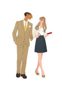 会社で上司と話しながら歩く女性のイラスト素材 [FYI01640060]
