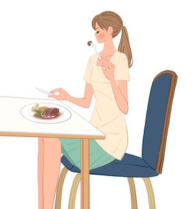 レストランでハンバーグを食べる女性のイラスト素材 [FYI01640062]