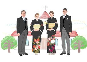 結婚式で正装した新郎新婦の両親のイラスト素材 [FYI01640067]
