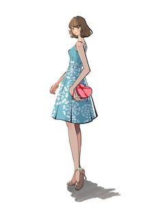 プレゼントを持つノースリーブのワンピースを着た女の子のイラスト素材 [FYI01640071]