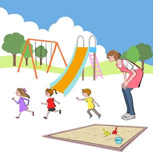 公園で子供達を遊ばせる保育士のイラスト素材 [FYI01640072]