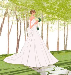 ブーケを持ってウェディングドレスを着た女性のイラスト素材 [FYI01640075]
