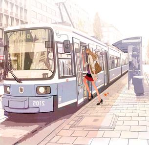 秋、電車に乗ろうとしている女性のイラスト素材 [FYI01640076]