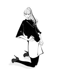 床に膝を立てて腰に手をあてて立つポニーテールの女性のイラスト素材 [FYI01640078]