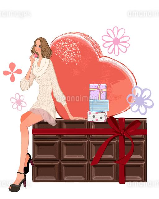 バレンタインの女性とチョコレートのイラスト素材 [FYI01640079]