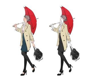 傘を差して歩くコートの女性のイラスト素材 [FYI01640081]
