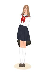 鞄を持って立つセーラー服姿の女子高校生のイラスト素材 [FYI01640092]