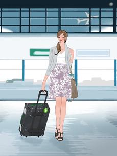 空港でスーツケースを引いて歩く女性のイラスト素材 [FYI01640095]