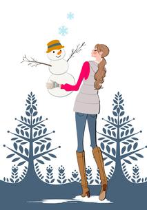 雪だるまを作る女性のイラスト素材 [FYI01640097]