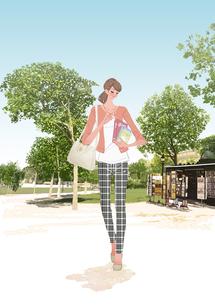 春のパリの公園を本を抱えて歩く女性のイラスト素材 [FYI01640098]