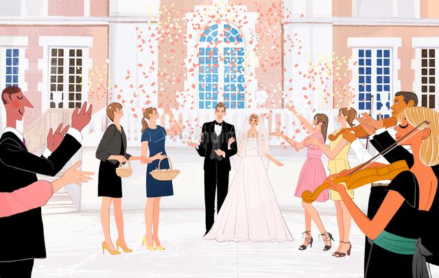 結婚披露宴のあとみんなに祝福される新郎新婦のイラスト素材 [FYI01640100]