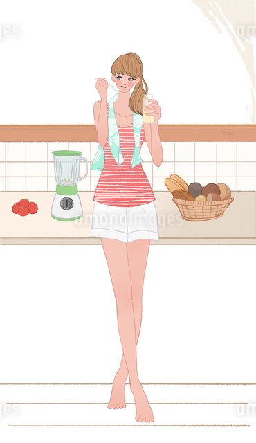 キッチンに立ちお酢を舐める女の子のイラスト素材 [FYI01640101]