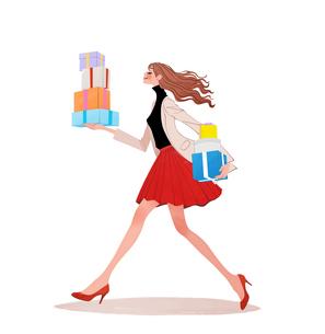 たくさんのプレゼントを持って走る女性のイラスト素材 [FYI01640106]