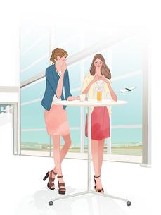 空港でお茶を飲みながら話す女友達のイラスト素材 [FYI01640118]