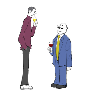 ワインを飲みながら話す男性のイラスト素材 [FYI01640119]