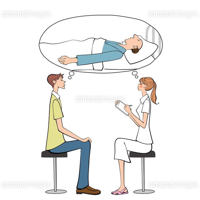 病院で入院中の父の説明を受ける男性と状況を話す女性看護師のイラスト素材 [FYI01640120]