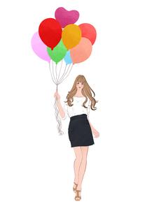 風船を持って立つ春の女性のイラスト素材 [FYI01640122]