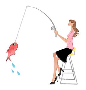 魚釣りをする女性のイラスト素材 [FYI01640124]