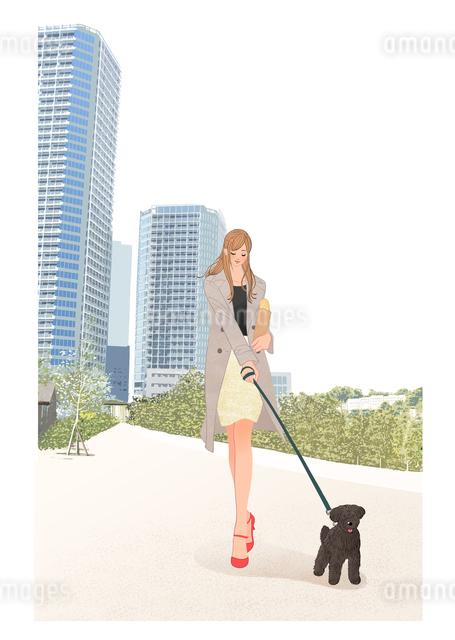 バゲットを買い街で犬の散歩をする女性のイラスト素材 [FYI01640125]