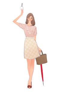電車でつり革につかまる傘を持った女性のイラスト素材 [FYI01640126]