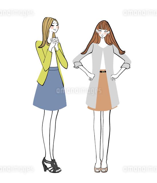 お願い事をする女性と顔をしかめる女性のイラスト素材 [FYI01640127]