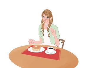 テーブルに座りホットーケーキを食べる女性のイラスト素材 [FYI01640130]