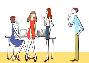 会社の休憩時間におしゃべりするOLと男性社員のイラスト素材 [FYI01640132]