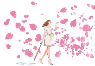 桜の花びらが舞う中を歩く女の子のイラスト素材 [FYI01640134]