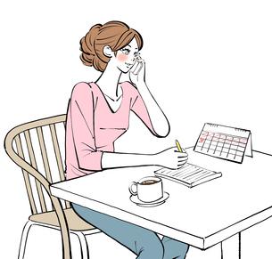 カレンダーを見てメモを取りながら携帯電話で話す女性のイラスト素材 [FYI01640139]