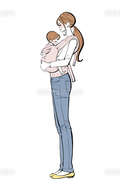 抱っこ紐で赤ちゃんを抱くママのイラスト素材 [FYI01640141]