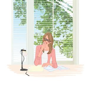窓辺の机に座りペンで書類を書く眼鏡をかけた女性のイラスト素材 [FYI01640144]