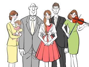 結婚式に呼ばれた友人と会社の同僚のイラスト素材 [FYI01640148]