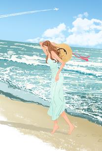 夏の海、砂浜を裸足で歩く麦わら帽子を持つ女の子のイラスト素材 [FYI01640150]