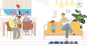 リビングでくつろぐ家族のイラスト素材 [FYI01640152]