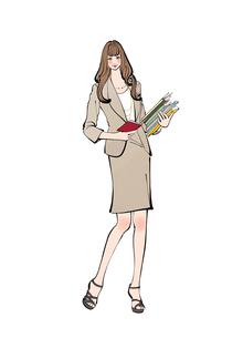 書類を抱えメモ帳を持つ働く女性のイラスト素材 [FYI01640153]