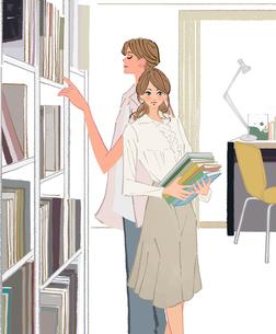 書斎の本を選ぶ男性と整理する女性のイラスト素材 [FYI01640154]