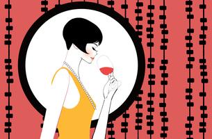 ワインを飲む断髪のモダンガールのイラスト素材 [FYI01640155]