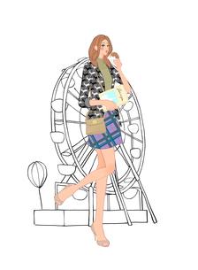 遊園地でドーナツを食べ本を持つ女性のイラスト素材 [FYI01640162]