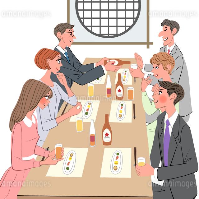 結婚の前に両親の顔合わせで料亭で会食する家族のイラスト素材 [FYI01640168]