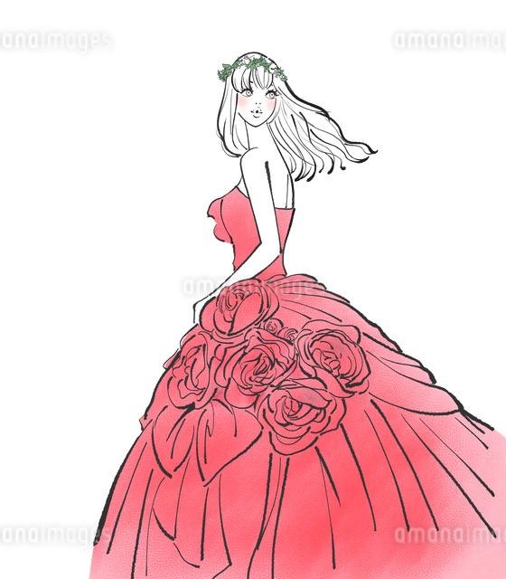 ウエディングドレスを着た花冠をつけた女性のイラスト素材 [FYI01640177]