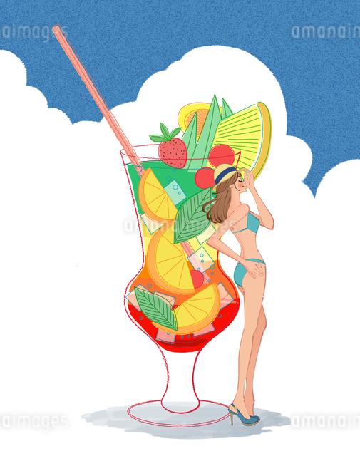ビキニの女の子とトロピカルドリンクのイラスト素材 [FYI01640179]