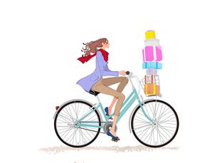 カゴにたくさんのプレゼントを入れて自転車で走る女性のイラスト素材 [FYI01640183]