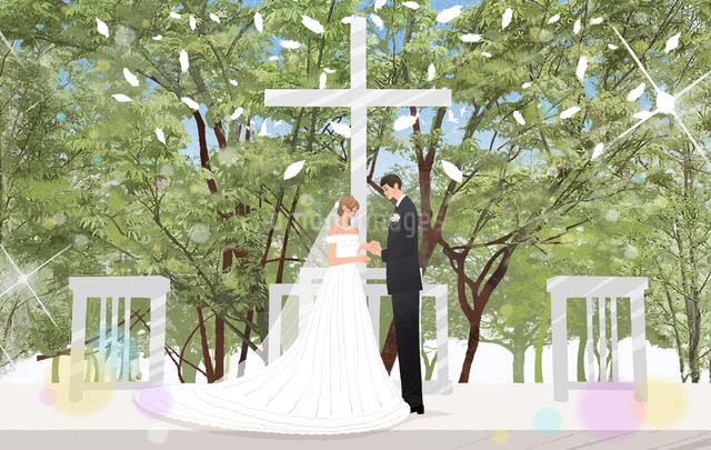 森の教会で結婚式をあげるカップルのイラスト素材 [FYI01640188]