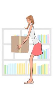 重い段ボール箱を持ち上げる女の子のイラスト素材 [FYI01640189]