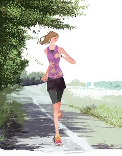 初夏にジョギングをする女性のイラスト素材 [FYI01640191]
