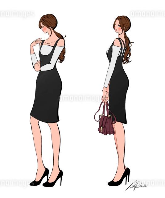 おしゃれする女性のイラスト素材 [FYI01640192]